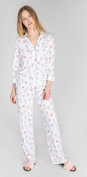 PJ Salvage Drinks Playful Print Cotton Pajama Set in White