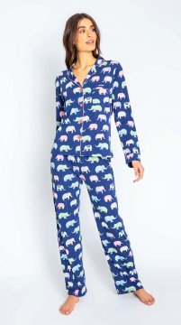 PJ Salvage Playful Prints Elephants Classic Cotton Pajama Set in Navy
