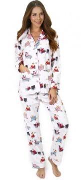 "PJ Salvage Women's Fantastic Flannels ""Fat Cat"" in Natural Pajama Set"