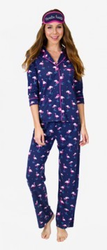 PJ Salvage Women's Playful Prints Flamingos Cotton Pajama Set in Navy
