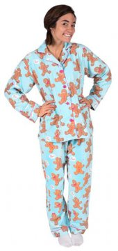 PJ Salvage Women's Gingerbread Classic Flannel Pajama Set in Blue