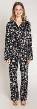 PJ Salvage Give Love Dot Classic Cotton Pajama Set in Black