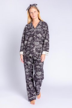 PJ Salvage Go Wild Classic Flannel Pajama Set in Slate