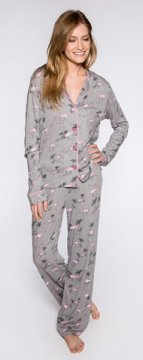 PJ Salvage Flamingo's Playful Print Cotton Pajama Set in Grey