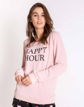 PJ Salvage Happy Hour Long Sleeve Jersey Top in Rose Quartz