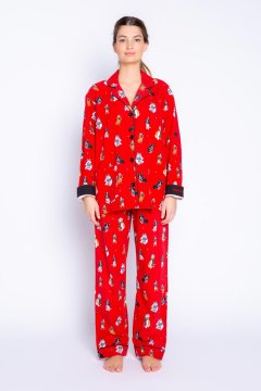 PJ Salvage Happy Howlidays Classic Flannel Pajma Set in Red