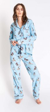 PJ Salvage Chelsea Hippie Dog Classic Flannel Pajama Set