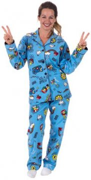 PJ Salvage Hippie Classic Flannel Pajama Set in Blue