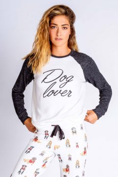 PJ Salvage Hipster Hounds Dog Lover Long Sleeve Top in Ivory