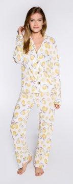 PJ Salvage Lemons Playful Print Cotton Pajama Set in Ivory