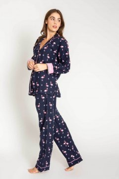 PJ Salvage Let's Flamingle Classic Flannel Pajama Set in Navy