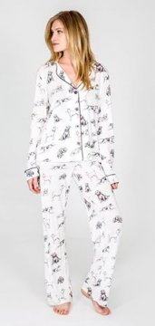 PJ Salvage Life's Ruff Playful Print Cotton Pajama Set in Antique White