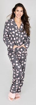 PJ Salvage Love is Sweet Classic Flannel Pajama Set in Grey