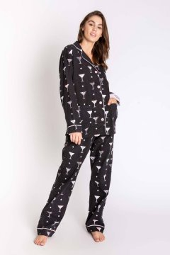 PJ Salvage Martini Classic Flannel Pajama Set in Black