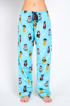 PJ Salvage Live Your Life in The Meow Flannel Pajama Pant in Aqua