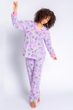 PJ Salvage Life is A Mixed Tape Flannel Classic Pajama Set in Lavender