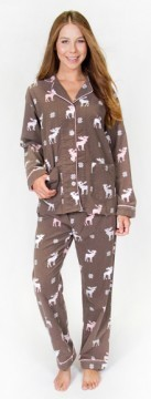 "PJ Salvage Women's Fantastic Flannels ""Moose"" Pajama Set in Cocoa"