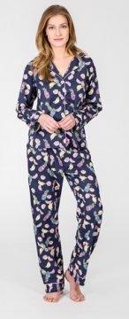 PJ Salvage Fruit Playful Print Cotton Pajama Set in Navy