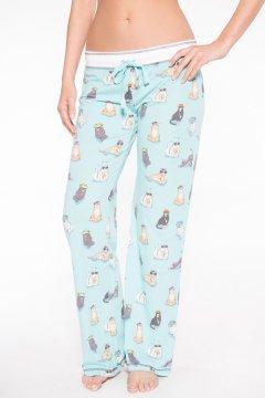 PJ Salvage Women's Playful Prints Cats Cotton Pajama Pant in Aqua