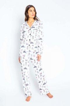 PJ Salvage Playful Prints Pawjamas Cotton Classic Pajama Set in Ivory