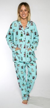 PJ Salvage Women's Paw-Sents Flannel Pajama Set in Blue