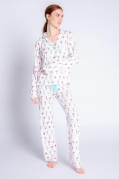 PJ Salvage Playful Prints Happy Hour Dreams Cotton Jersey Classic Pajama Set in Ivory