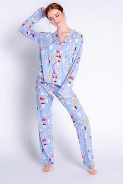 PJ Salvage Playful Prints Love You A Latte Cotton Jersey Classic Pajama Set in Peri Blue