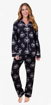 PJ Salvage Women's Queen Bee Flannel Pajama Set in Black