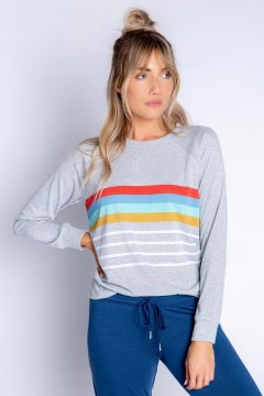 PJ Salvage Retro Lounge Stripe Peachy Jersey Long Sleeve Top in Heather Grey