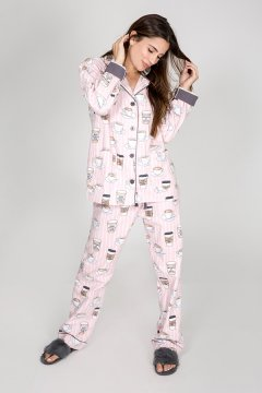 PJ Salvage Rise & Grind Classic Flannel Pajama Set in Blush
