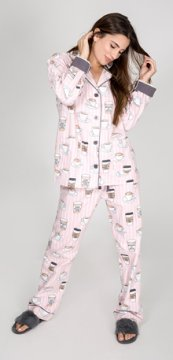 PJ Salvage Rise & Grind Classic Flannel Pajama Set in Blush
