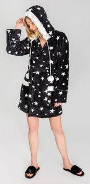 PJ Salvage Plush Dreamer Stars Robe in Black