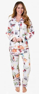 PJ Salvage Women's Route 66 Flannel Pajama Set in Ivory