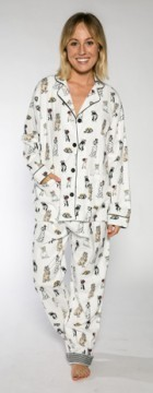 PJ Salvage Women's Royal Dogs Flannel Pajama Set in Ivory