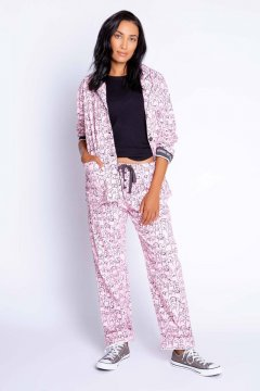 PJ Salvage Mornings Are Ruff Classic Flannel Pajama Set in Blush