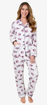 "PJ Salvage Women's ""Sheepy Time"" Flannel Pajama Set in Ivory"