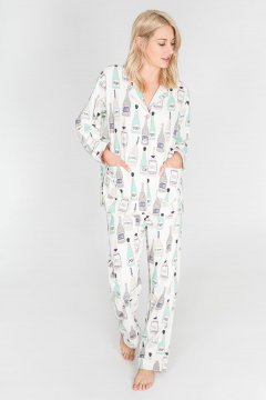 PJ Salvage Sip Sip Horray Classic Flannel Pajama Set in Natural