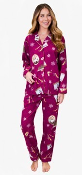 PJ Salvage Women's Ski School Flannel Pajama Set in Burgandy