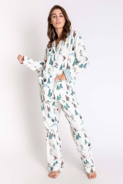 PJ Salvage Bearly Awake Ski Classic Flannel Pajama Set in Antique White