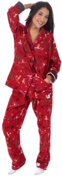 "PJ Salvage Women's Fantastic Flannels ""Fox on Skis"" Pajama Set in Brick"