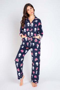 PJ Salvage Skull & Roses Classic Flannel Pajama Set in Navy