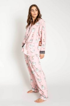 PJ Salvage SPaw Day Classic Flannel Pajama Set in Blush