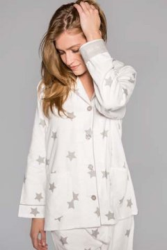 PJ Salvage Starry Eyed Classic Flannel Pajama Set in Ivory