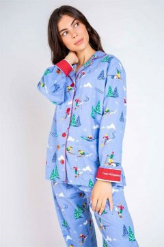 PJ Salvage Vitamin Ski Classic Flannel Pajama Set in Powder Blue