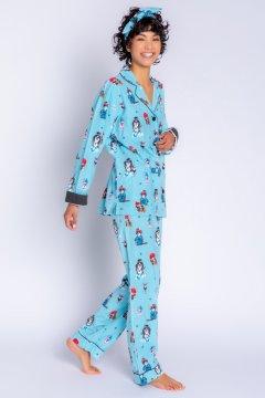 PJ Salvage You Rock Flannel Classic Pajama Set in Aqua