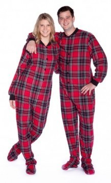 Big Feet Pajamas Adult Red Plaid Flannel One Piece Footy