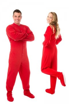 Big Feet Pajamas Adult Red Fleece One Piece Footy