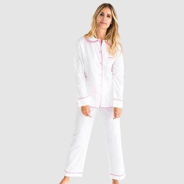 Sant + Abel Women's White French Cambric Cotton Classic Pajama Set