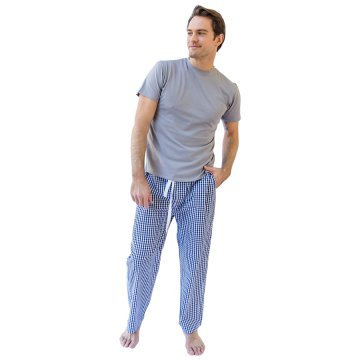 Sant + Abel Men's Hepburn Gingham Navy Cotton Poplin Pajama Pants