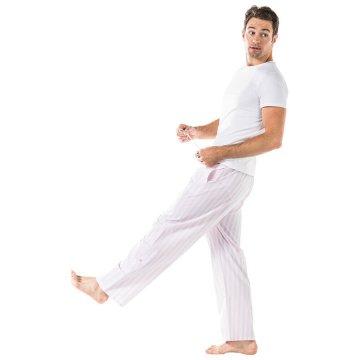 Sant + Abel Men's Braddock Pink Stripe Cotton Poplin Pajama Pants